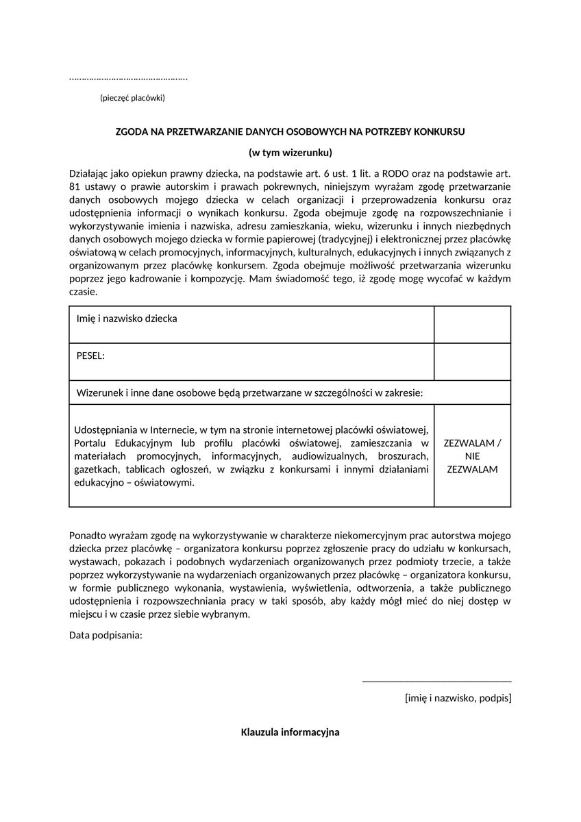 [Konkurs]_ zgoda i klauzula informacyjna 333-1